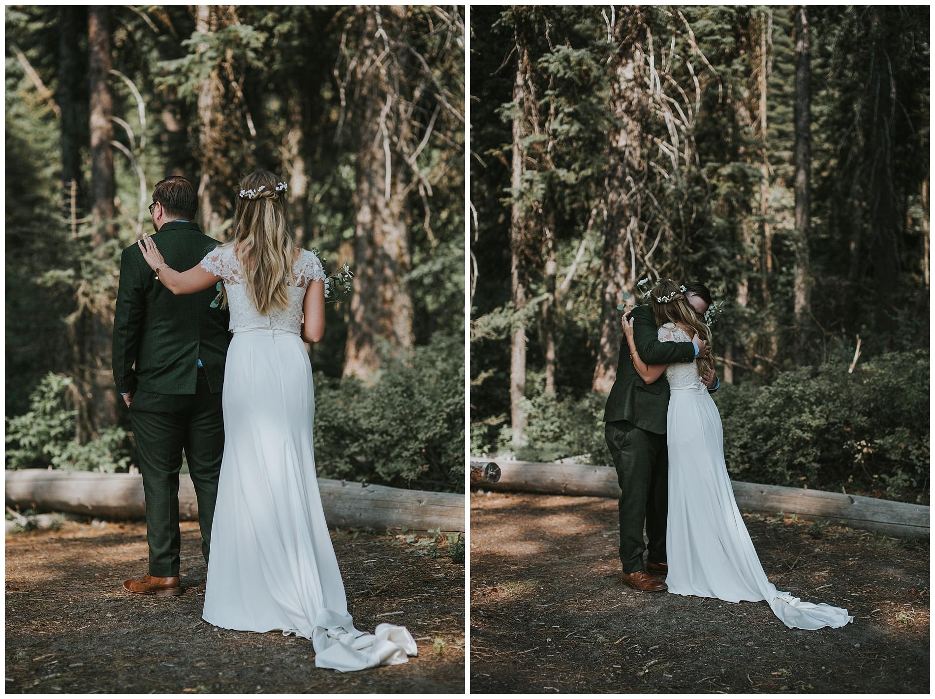 First Look Boho Wedding in McCall Idaho