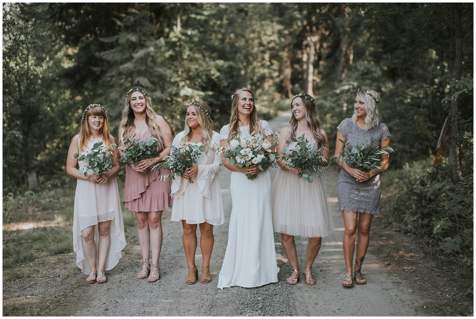 Boho Bridesmaids with greenery bouquets in McCall Idaho