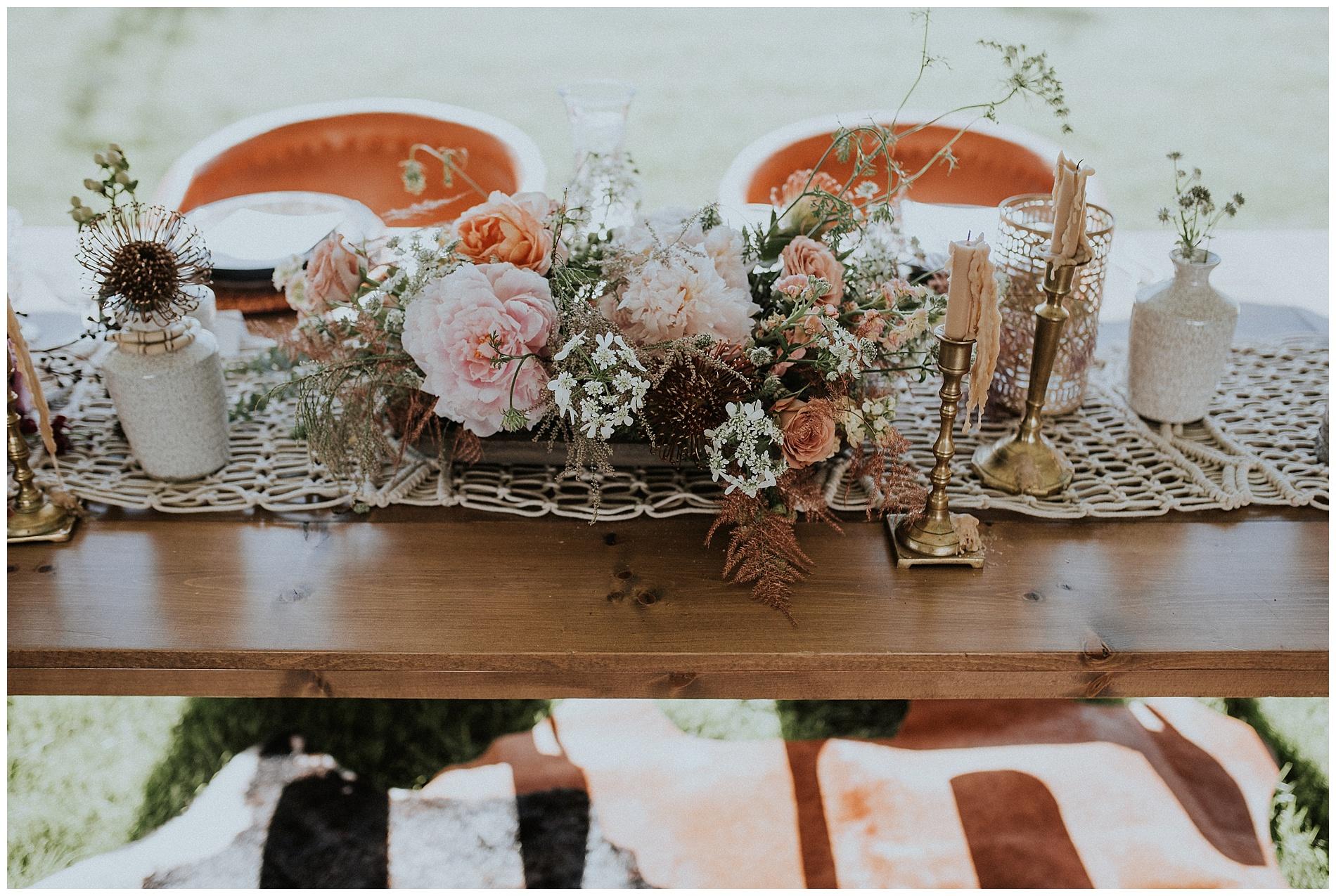 Boho Sweetheart Table Idaho Wedding Photographer