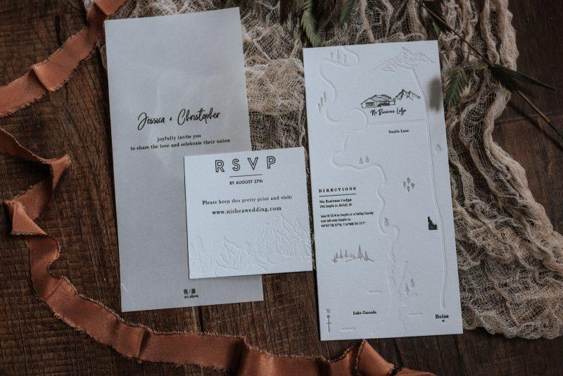 minimal DIY wedding invitations using a letterpress to make moody invites