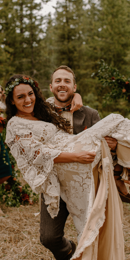 McCall Idaho Boho Wedding First kiss as husband and wife
