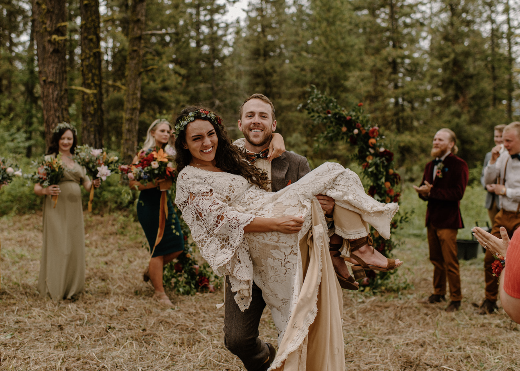 McCall Idaho Boho Wedding First kiss as husband and wife
